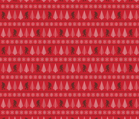 They Do Exist Red Sasquatch Fabric Katerhees Spoonflower