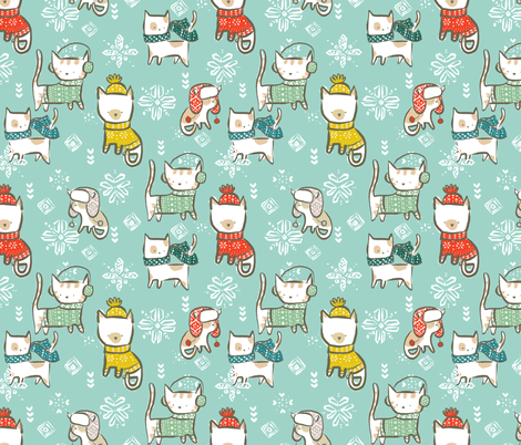 Festive Winter Cats - © Lucinda Wei fabric by lucindawei on Spoonflower - custom fabric