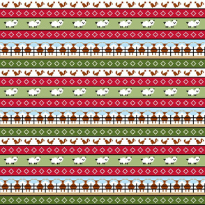 Fair Isle cattle sheep and chicken stripe 4