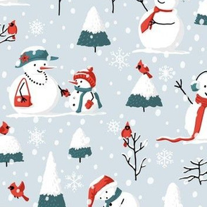 Christmas Snowmen and Cardinals