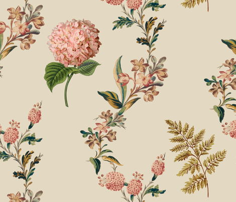 Vintage_Hydrangea_22in_ orig color_ 23M fabric by incognitoshop on Spoonflower - custom fabric