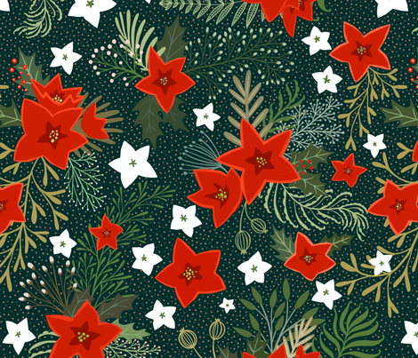 Poinsettia and holly leaves with red berries on dark green fabric by rebecca_reck_art on Spoonflower - custom fabric