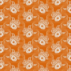 ★ KOI FISH INVASION ★ Orange & White - Small Scale / Collection : Japanese Koi Block Print