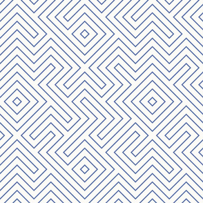 Half Scale Tribal Maze Periwinkle and White