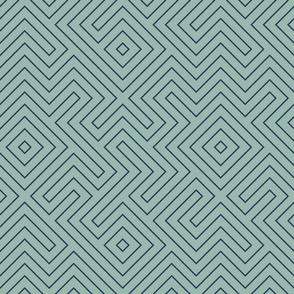 Half Scale Tribal Maze Navy on Sage