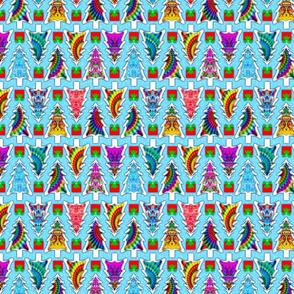 Tie Dye Christmas Trees in White
