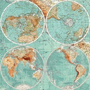 Map Wraps™ Mother Earth Organic Cotton Sateen Fat Quarter (Sea Green)