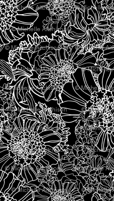 Floral Midnight Jumbo Scale (Black and White)