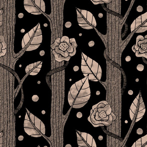 Floral monochrome forest