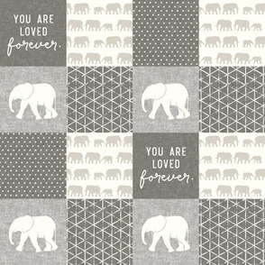 "(4"" scale) Elephant wholecloth - You are loved forever.  - cream and beige  C18BS"