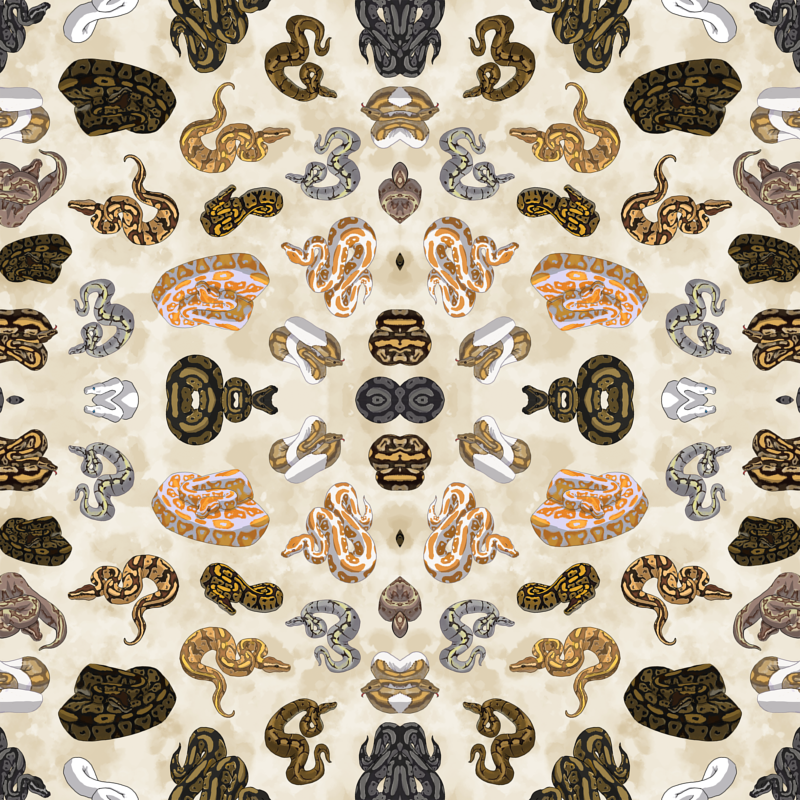 Small Ball Python Morph Pattern in Parchment wallpaper