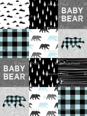 baby bear patchwork quilt top - baby blue || buffalo plaid C18BS