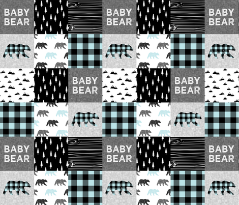 baby bear patchwork quilt top - baby blue || buffalo plaid C18BS fabric by littlearrowdesign on Spoonflower - custom fabric