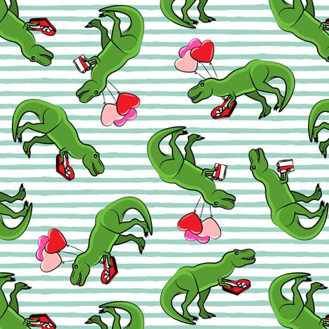 Valentine's Day Trex - toss on aqua  stripes fabric by littlearrowdesign on Spoonflower - custom fabric
