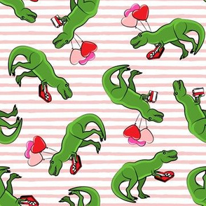 Valentine's Day Trex - toss on pink stripes