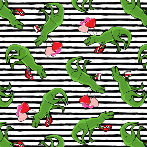 Valentine's Day Trex - toss on black stripes fabric by littlearrowdesign on Spoonflower - custom fabric