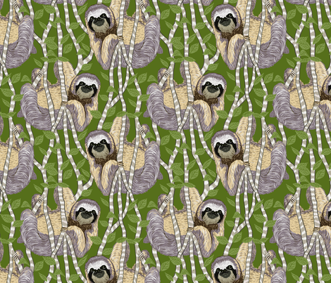sloth cloth light green fabric by leroyj on Spoonflower - custom fabric