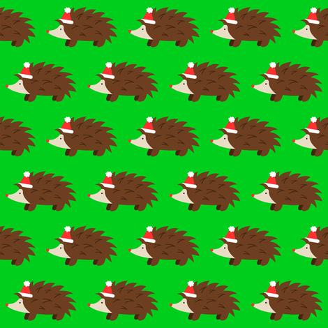 Santa Hedgehog fabric by robyriker on Spoonflower - custom fabric
