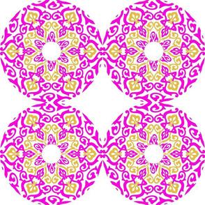 Mandalas Hot Pink Gold on White