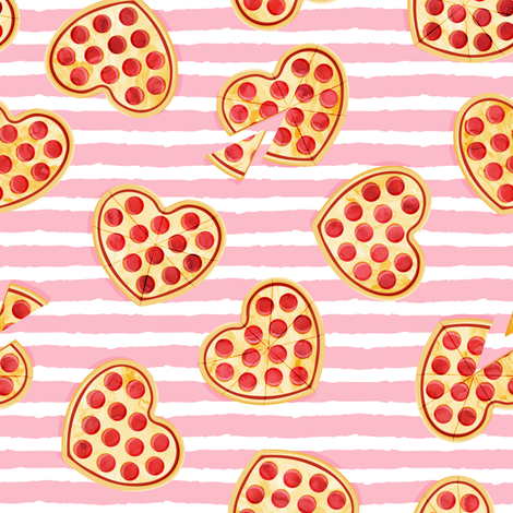 heart shaped pizza - valentines day - pink stripes fabric by littlearrowdesign on Spoonflower - custom fabric