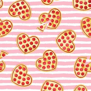 heart shaped pizza - valentines day - pink stripes