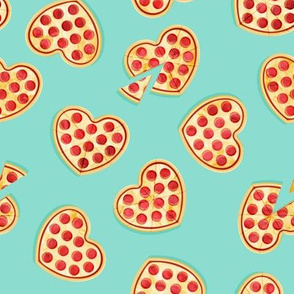 heart shaped pizza - valentines day - light teal