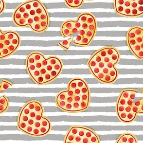 heart shaped pizza - valentines day - grey stripes