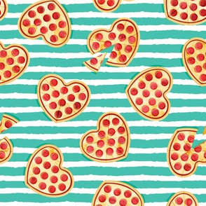 heart shaped pizza - valentines day - teal stripes
