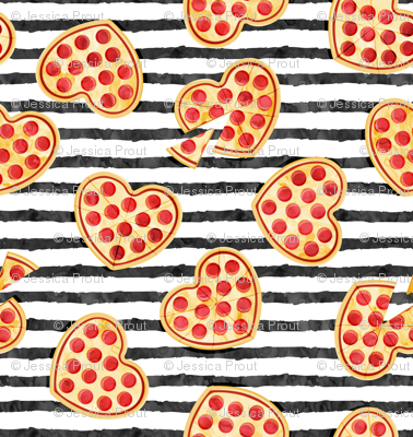 heart shaped pizza - valentines day - black stripes