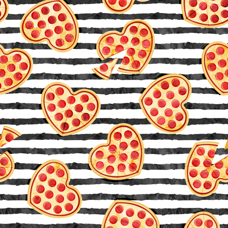 heart shaped pizza - valentines day - black stripes fabric by littlearrowdesign on Spoonflower - custom fabric