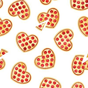heart shaped pizza - valentines day - white