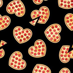 heart shaped pizza - valentines day - black