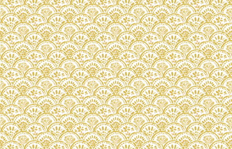 Chinese Gold Scalloped Wave (mini) fabric by helenpdesigns on Spoonflower - custom fabric
