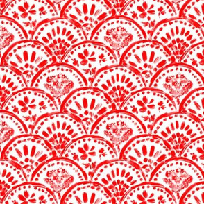 Chinese Red Scalloped Wave (mini)