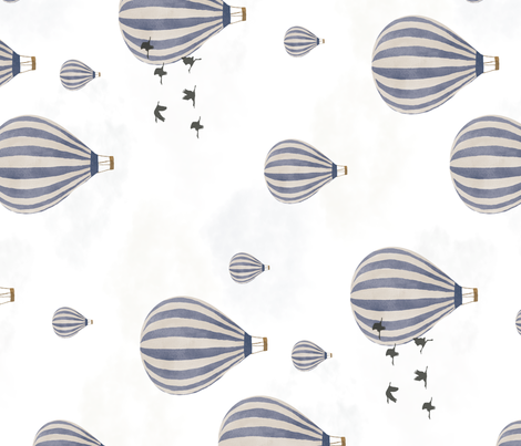 Hot Air Balloons over the Safari - rotated fabric by melarmstrongdesign on Spoonflower - custom fabric