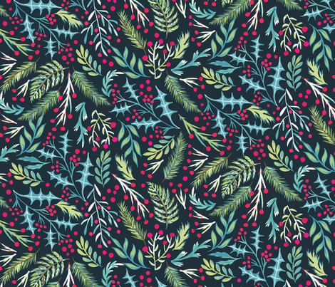 Hand Painted Holly fabric by jill_o_connor on Spoonflower - custom fabric