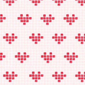 Watercolour Pixel Hearts in Red