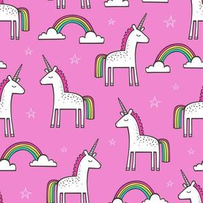 Cute Unicorn Rainbow on Magenta Pink
