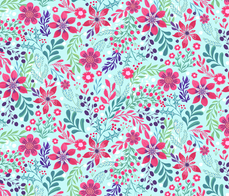 Winter poinsettia floral fabric by jill_o_connor on Spoonflower - custom fabric