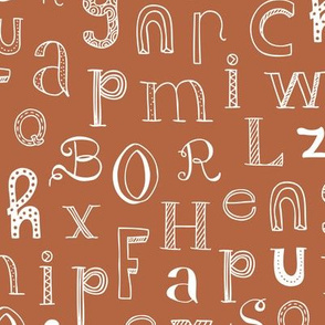 Cool kids alphabet abc back to school design type text font fabric copper brown gender neutral fall winter