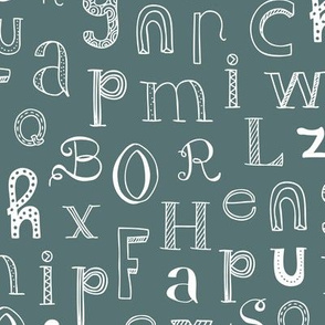 Cool kids alphabet abc back to school design type text font fabric copper blue winter