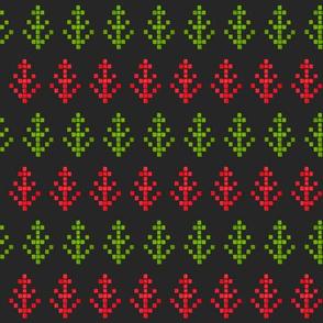 Watercolour Pixel Trees on Grey
