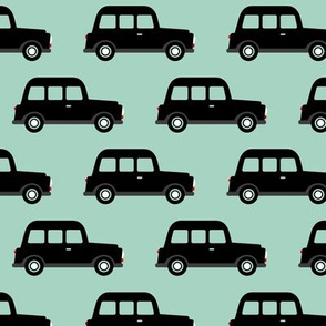 London black cab taxi boys car black and white retro mint
