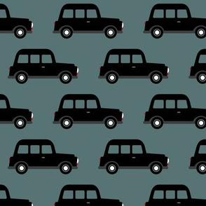 London black cab taxi boys car black and white retro stone blue winter