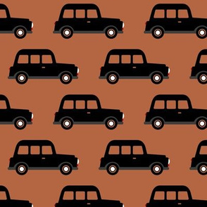 London black cab taxi boys car black and white retro copper brown