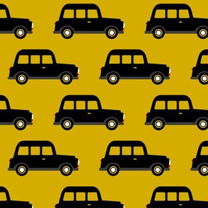 London black cab taxi boys car black and white retro mustard yellow