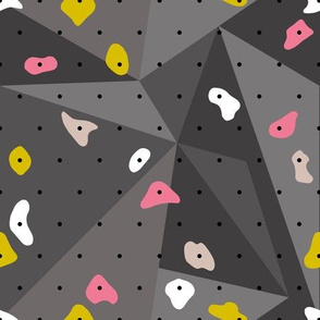 Climbing boulders bouldering gym abstract geometric grips patterns pink yellow gray