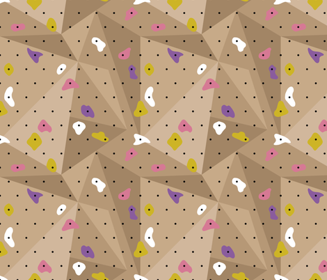 Climbing boulders bouldering gym abstract geometric grips patterns pink purple wood fabric by littlesmilemakers on Spoonflower - custom fabric