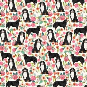 SMALL - bernese mountain dog florals dog flowers cute dog design sweet florals best dog flower fabrics dog fabric bernese mountain dog fabric