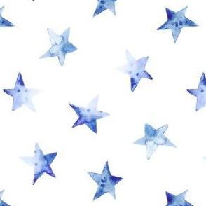 Tender blue watercolor stars
